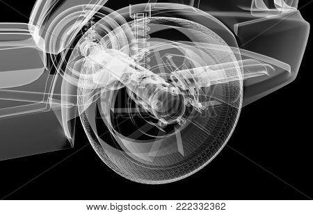 X-ray rear suspension car on black background, 3d illustration
