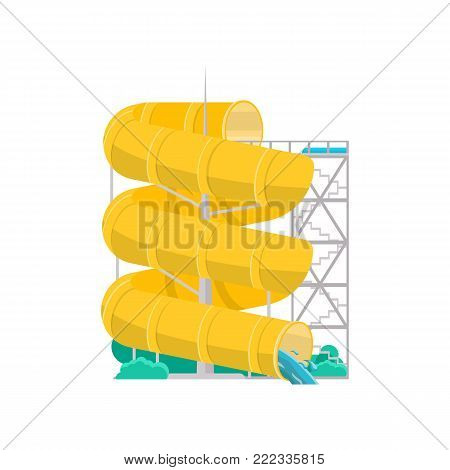Aqua park yellow plastic water tube icon. Outdoor family beach vacation, children water attractions vector illustration. Wonderful summertime, funny relax and activity.