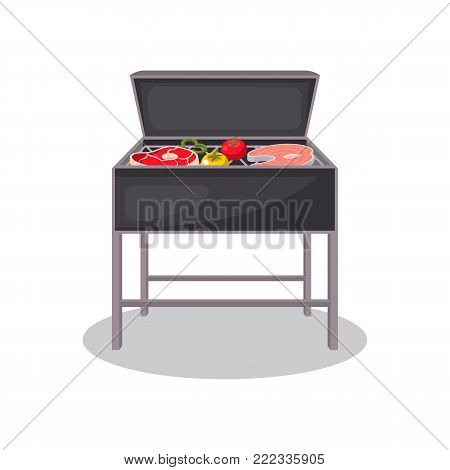 Kettle grill with grilled meat and vegetables isolated icon. BBQ party, traditional cooking food, restaurant menu element vector illustration.