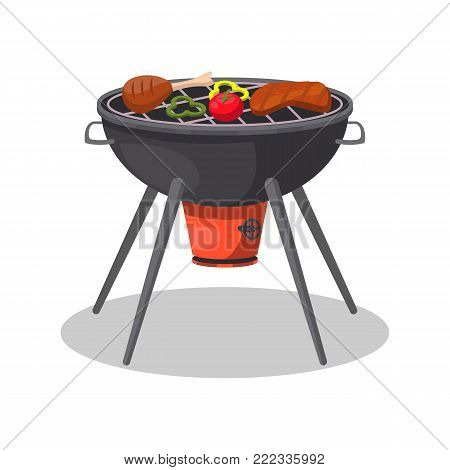 Barbecue grill with grilled meat and vegetables isolated icon. BBQ party, traditional cooking food, restaurant menu element vector illustration.