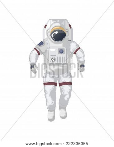 Modern space suit isolated icon. Spaceman equipment, cosmic life support system for universe exploration, astronaut on space mission vector illustration.