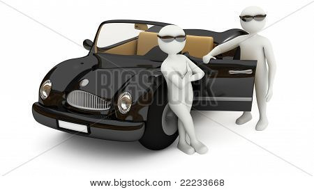 3D White Men Standing Near Black Car