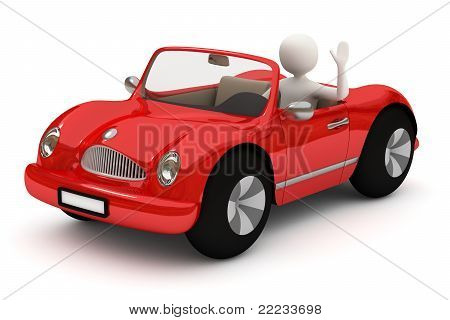 3D Man Going With Red Car