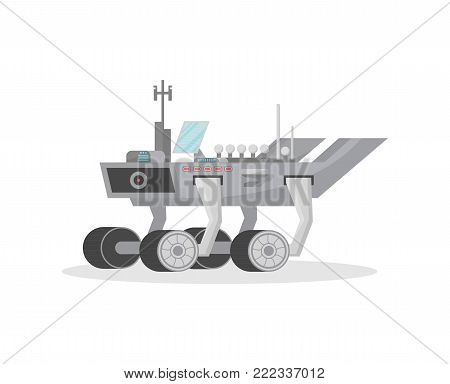 Space rover isolated icon. Robotic space autonomous vehicle for planet exploration and cosmic colonization vector illustration in flat style.