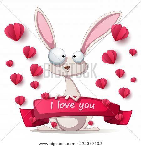Crazy rabbit - Valentine Day illustration. Vector eps 10