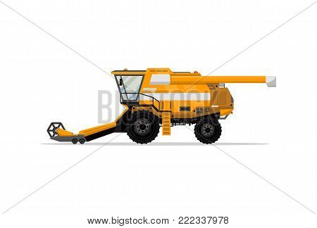 Heavy combine harvester isolated icon. Agricultural machinery for field work vector illustration. Rural industrial farm technics, comercial transport.