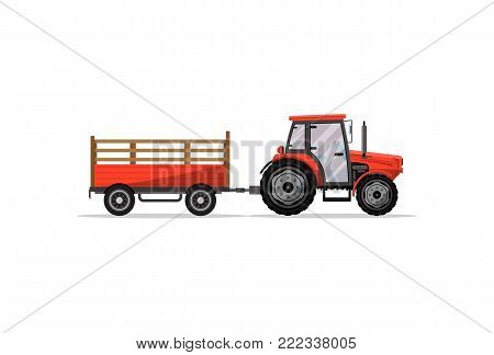 Heavy wheeled tractor with trailer isolated icon. Agricultural machinery for field work vector illustration. Rural industrial farm technics, comercial transport.