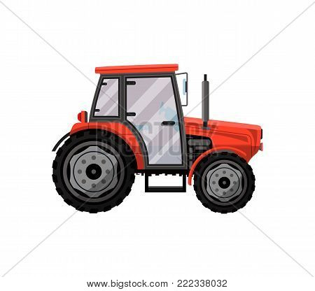 Red wheeled tractor isolated icon. Agricultural machinery for field work vector illustration. Rural industrial farm technics, comercial transport.