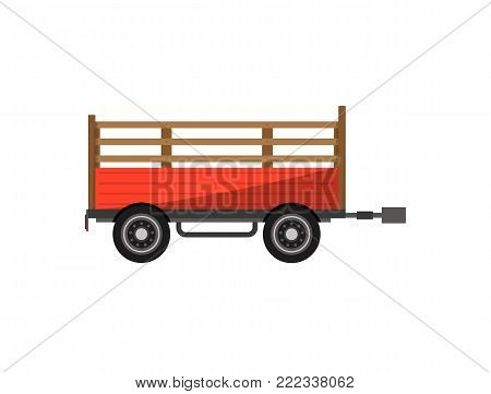 Agricultural wheeled trailer isolated icon. Heavy machinery for field work vector illustration. Rural industrial farm technics, comercial transport.