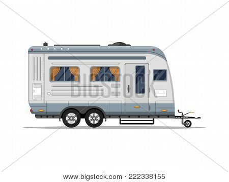 Mobile home isolated icon. Camping trailer for country and nature vacation. Side view recreational vehicle van vector illustration in flat syle.