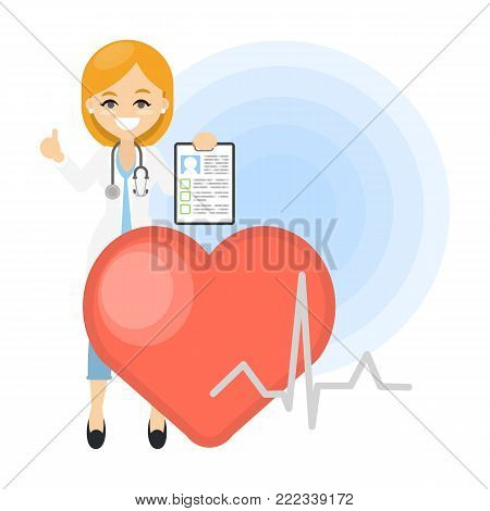 Isolated smiling cardiologist doctor with heart and stethoscope.