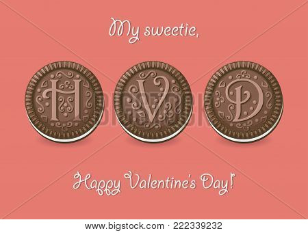 Happy Valentine Day. Chocolate cookies with graceful decor. My sweetie, Happy Valentines Day. Vector Illustration