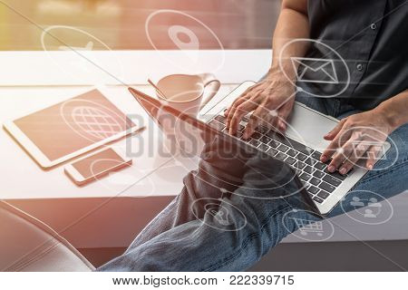 Digital marketing SEO search engine optimization via omnichannel communication network icon on computer software application development and online mobile smart device app technology