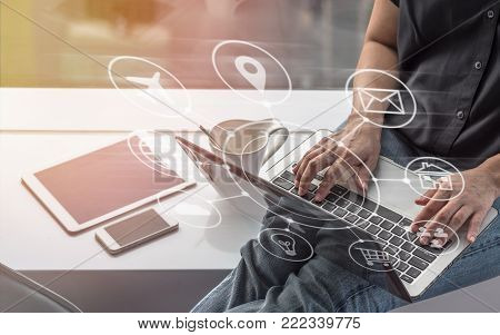 Digital Marketing Seo Search Engine Optimization Via Omnichannel Communication Network Icon On Compu