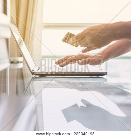 Consumer Buyer Using Credit Card Paying Shopping Online Bill Payment Via Internet Banking Communicat