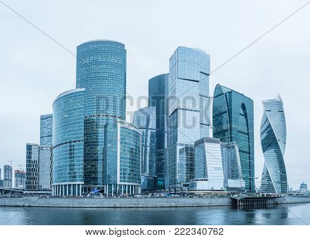 Moscow business center with glass skyscrapers. Moscow city modern buildings.