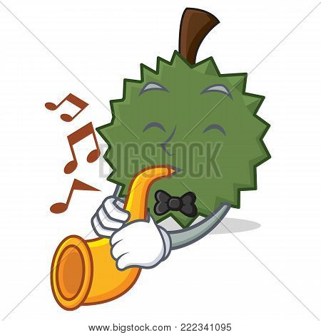 With trumpet Durian mascot cartoon style vector illustration