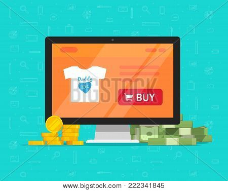 Internet on-line shop website on computer with lots of money vector illustration, flat cartoon ecommerce online store on pc and earned or spend cash, idea of digital profit revenue or expenses