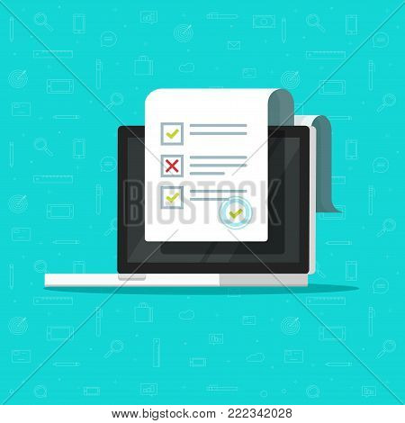 Online form survey on laptop vector illustration, flat cartoon computer showing long quiz exam paper sheet document icon, on-line questionnaire results, check list or internet test