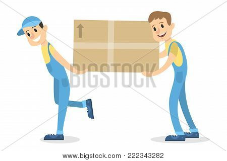 Delivery men with box moving on white.