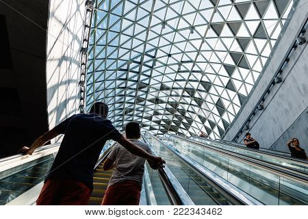 Budapest, Hungary - August 14, 2017: Interior view of Bikas Park Station, a Budapest Metro station in line 4. This station opens towards the sky with a glazed dome, illuminating the main access.