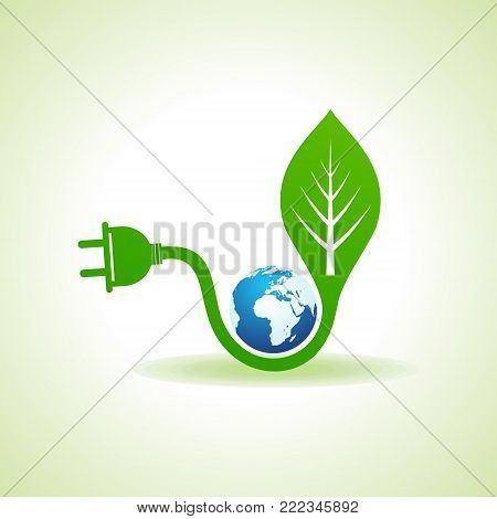 Eco Energy Concept with leaf,plug and earth stock vector