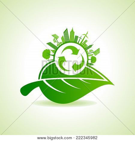 Eco Energy Concept with leaf,cityscape and recycle icon stock vector