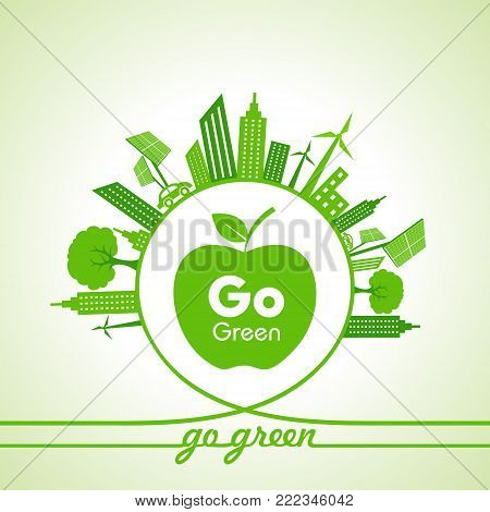 Eco Energy Concept with leaf,cityscape and apple stock vector