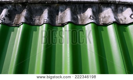 Background of Top of Green Gypsum Rooftop Tiles