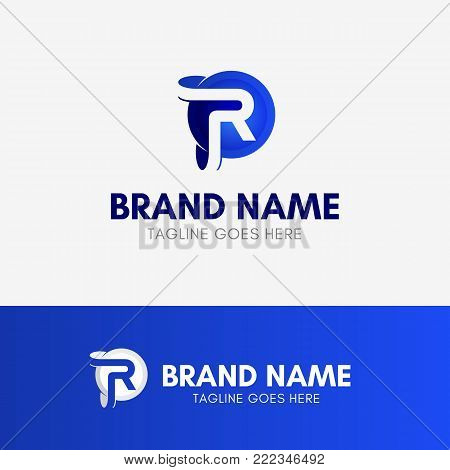 Letter R Circle Ellipse Logo template element symbol in blue color