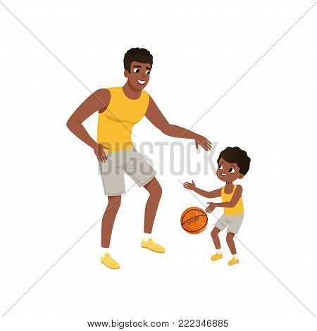 Afro-american father and his little son playing basketball. Fatherhood concept. Happy family. Active lifestyle. Cartoon man and boy in flat style. Colorful vector design isolated on white background.