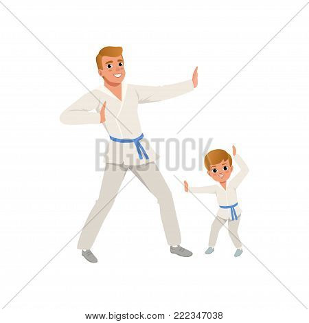 Smiling father and son training karate blows. Dad and child wearing kimonos and blue belts. Martial art. Fatherhood concept. Cartoon people characters. Cartoon flat vector design isolated on white.