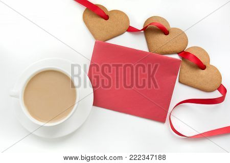 White cup of coffee with cookies as heart on lace. Windowsill. poster