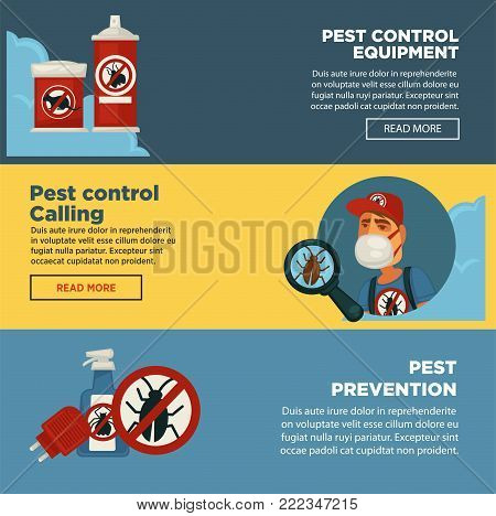 Extermination pest control service banners template design of sanitary domestic exterminate disinfection equipment. Vector disinfectant toxic poison spray for rodent mouse rat and cockroach insects