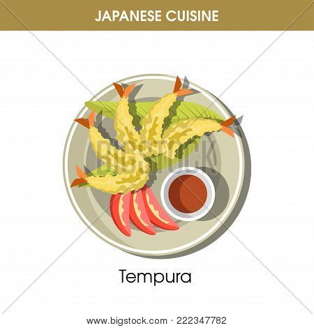 Delicious Tempura with soy sauce in small bowl from traditional Japanese cuisine isolated cartoon flat vector illustration on white background. Oriental exotic king shrimps fried in crispy batter.