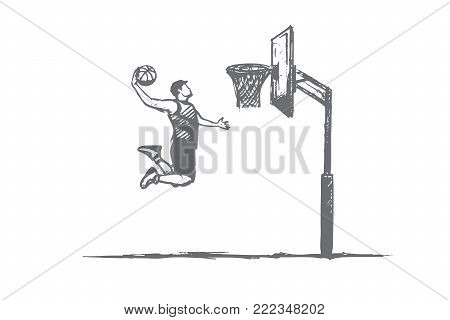 Basketball concept. Hand drawn player with ball jumping. Man playing in basketball isolated vector illustration.