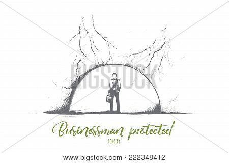 Businessman protected concept. Hand drawn businessman protected from the crisis with a symbolic ball. Protection from storm of problems isolated vector illustration.