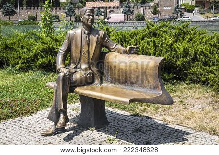 TBILISI, GEORGIA - JULE 27, 2017: Monument to the 40th US President Ronald Reagan was opened in the Rick Park in the historic part of Tbilisi on November 23, 2011.