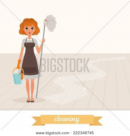 Woman standing on shiny floor and holding mop and plastic bucket. Cartoon maid dressed in gray dress, brown apron and protective rubber glove. Housekeeper concept. Isolated flat vector illustration.