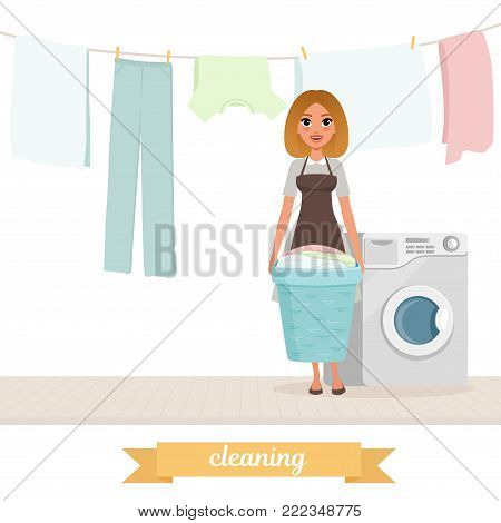 Smiling woman standing near washing machine with laundry basket. Washed clothes drying on rope. Housekeeper concept. Cartoon girl in gray dress and brown apron. Isolated flat vector illustration.