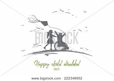 Happy child disabled concept. Hand drawn little girl pushing boy in wheel chair. Disabled has fun outside isolated vector illustration.