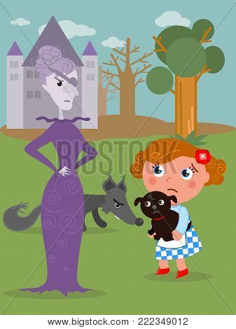 Wizard fairy tale. Little girl with her dog and the wicked West witch, vector illustration