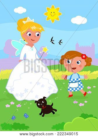 Wizard fairy tale. Little girl with her dog and the South witch Glinda, vector illustration