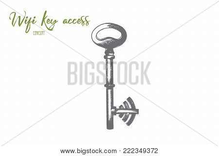 Wi-fi key access concept. Hand drawn key as symbol of password for wi-fi network. Protection of wireless isolated vector illustration.