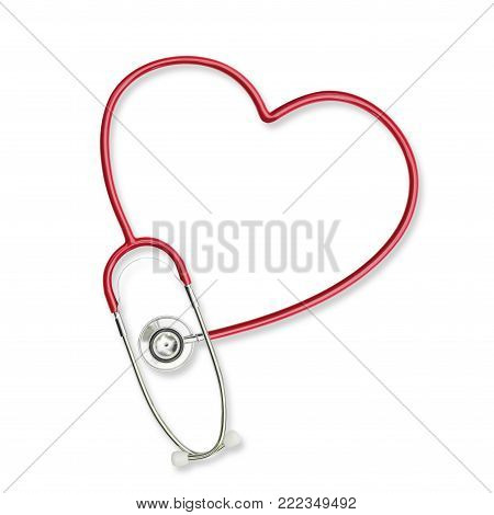 Isolated doctor's stethoscope in heart shape  lavender purple color on white background with clipping path