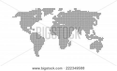 Black color world map isolated on white background. Abstract flat template with rectangles for web design, brochure, flyer, annual report, banner, infographic. Global concept, vector illustration
