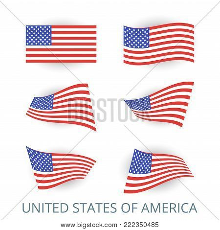 Set of icons of the flag of United States of America. A collection of various images of the country's flags. Vector illustration.