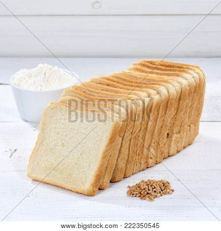 Whole Wheat Grain Bread Slice Slices Sliced Loaf Square On Wooden Board
