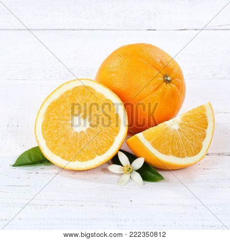 Fresh Orange Oranges Fruit Fruits Banner Copyspace On A Wooden Board