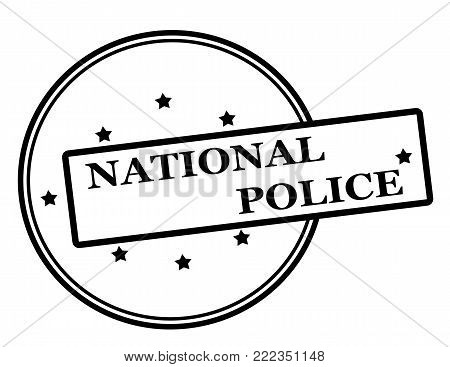 Rubber stamp with text national police inside, vector illustration